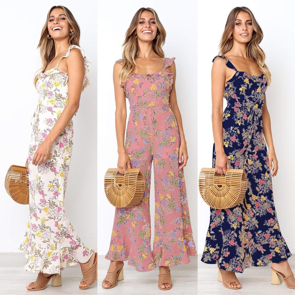2019 Print Jumpsuit Elegant Wide Leg Pantsuits Ruffled Floral Rompers Sleeveless Holiday Wear Sexy Open Back EDressU SJ-CF1868