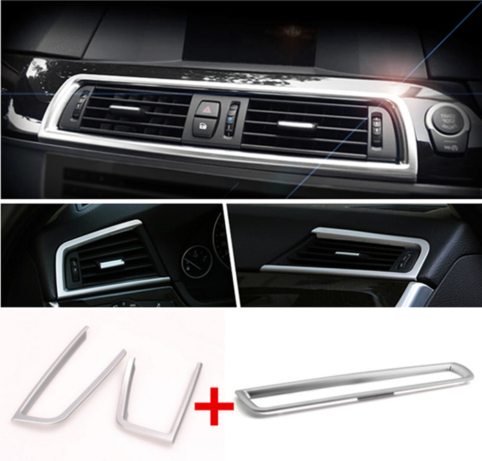 chrome middle console air conditioner outlet frame decorative cover trim strip interior. Black Bedroom Furniture Sets. Home Design Ideas