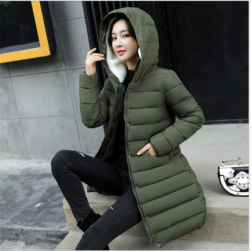 long Moyen army Doux Femmes Laine Capuchon Veste À Chaud Hiver Femelle Parka red Épaissir 2017new Black Coatcq685 3xl Le Survêtement gray Plus Coton Bas Green Taille Vers La qz48txAd