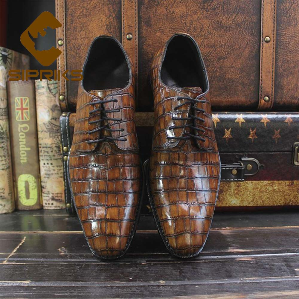 Sipriks Luxury Printed Cow Leather Crocodile Skin Shoes Black Mens Goodyear Welted Dress Shoes Boss Business Office Gents Social Formal Shoes