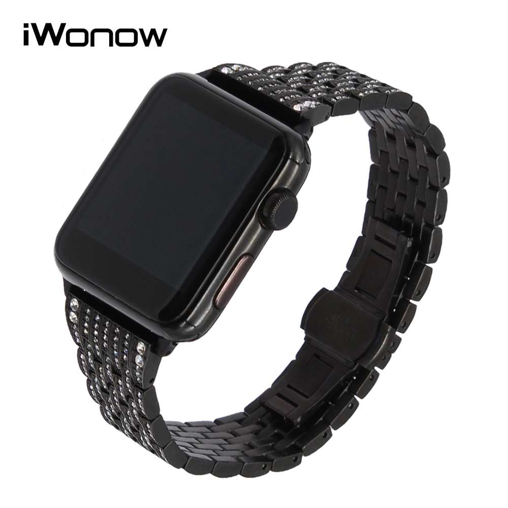 Rhinestone Diamond Watchband for iWatch Apple Watch 38mm 42mm Series 1 2 Stainless Steel Band Butterfly Buckle Wrist Strap Black карабин black diamond black diamond rocklock twistlock