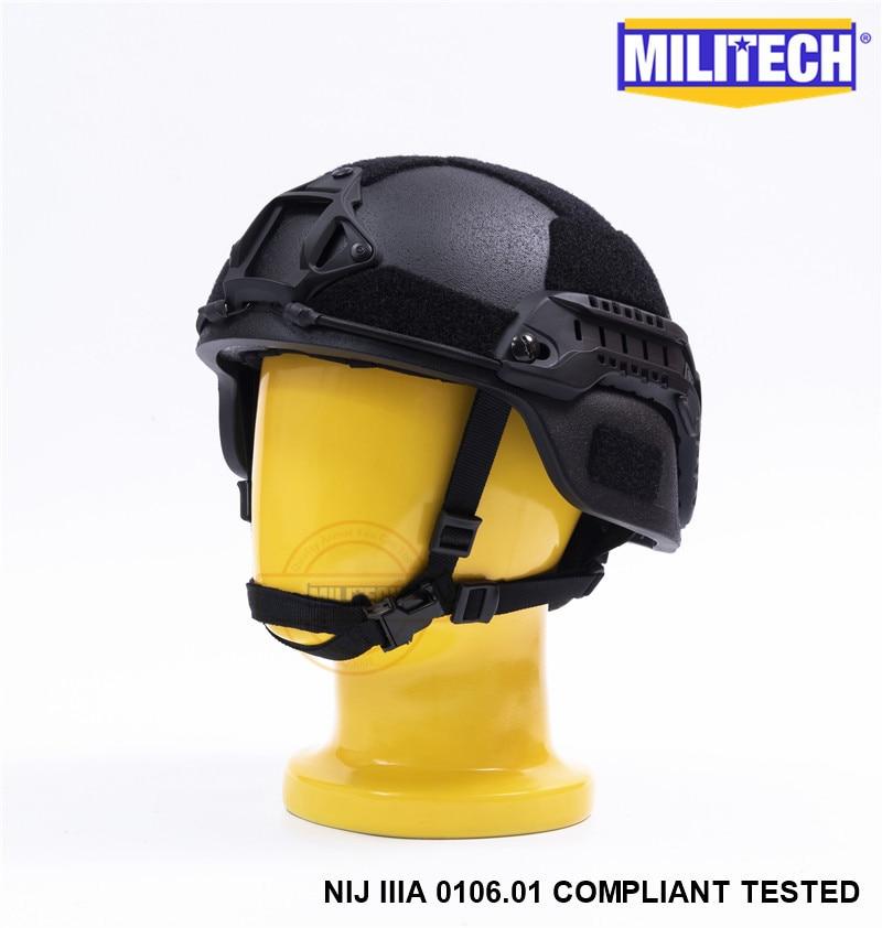 MILITECH Schwarz BK MICH NIJ Level IIIA 3A Tactical Twaron Kugelsicherer Helm ACH ARC OCC Dial Liner Aramid Ballistischer Helm SEAL