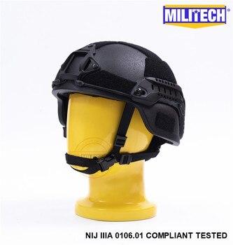 MILITECH negro BK MICH NIJ nivel IIIA 3A táctico Twaron casco a prueba de balas ACH ARC OCC Dial Liner Aramid balístico casco sello