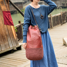 56*27cm  Free shipping Cotton and linen knitting is inclined shoulder bag leather cotton pure manual weaving single shoulder bag