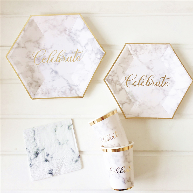 Marble Texture Gold Blocking Disposable Tableware  Sets Baby Shower Birthday Party Paper Plates Cups Napkins Wedding Decoration