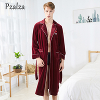 Winter Bath Robe Men Warm Super Soft Velour Long Bathrobe Nice Quality Mens Dressing Gown Letter Male Kimono Homme L XL XXL