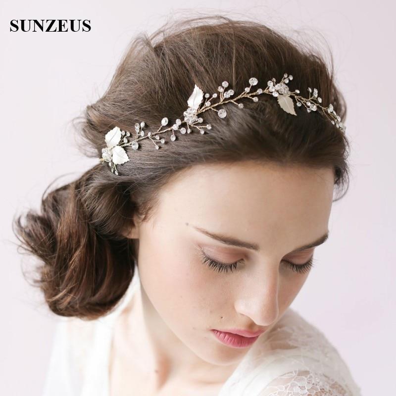 Golden Ribbons Bridal Hat Luxurious Wedding Hair Accessories Sparkly Beaded Rhinestone Headpiece Tocados De Pelo Para Bodas S802