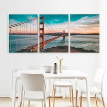Laeacco Canvas Calligraphy Painting the Golden Gate Bridge of San Francisco Posters and Prints Wall Art for Living Room Decor