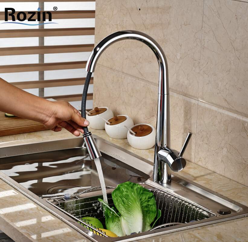 ФОТО Brand New Pull Out Kitchen Sink Faucet Chrome Rotation Kitchen Mixer Tap Chrome Finish One Hole