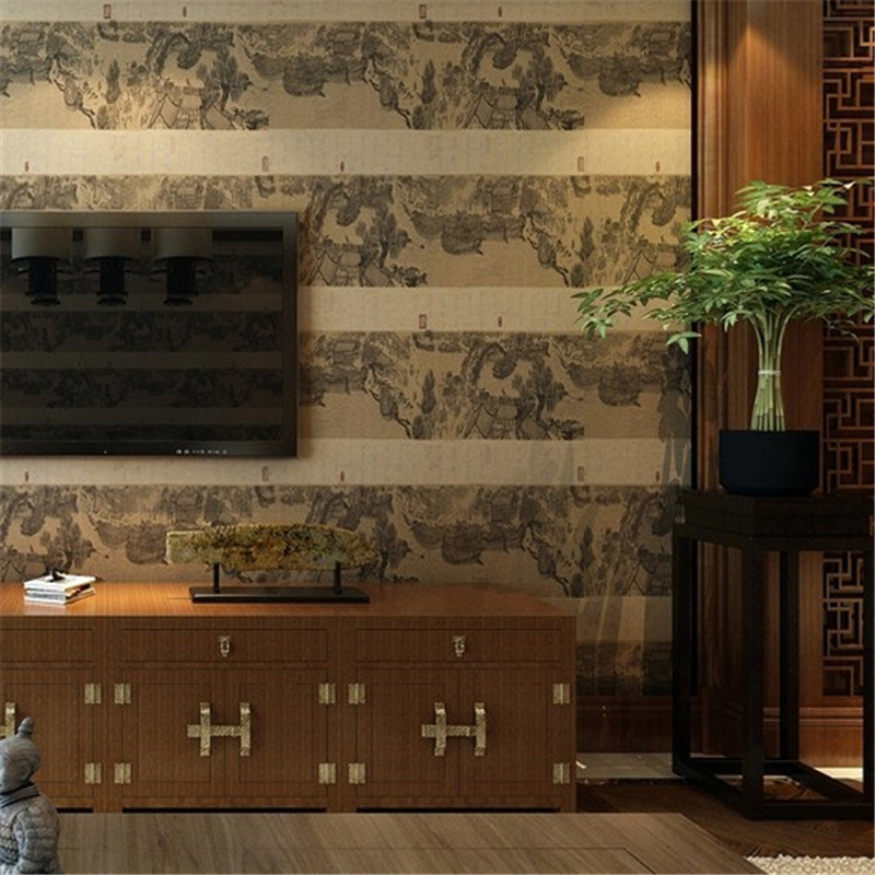 beibehang Ming and Qing classical Chinese style wallpaper - living room study TV background Qingming River calligraphy wallpaper
