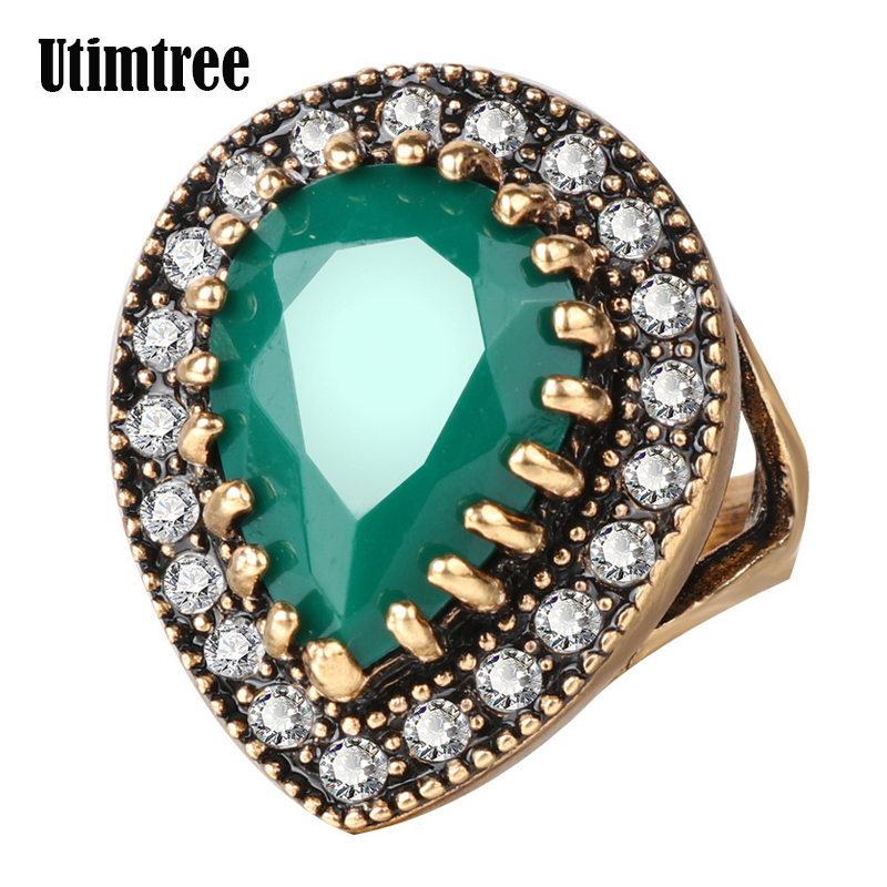 Utimtree 2018 High Quality Women Vintage Antique Gold Color Water Drop Crystal Wedding Engagement Rings CZ Zircon Ring Jewelry