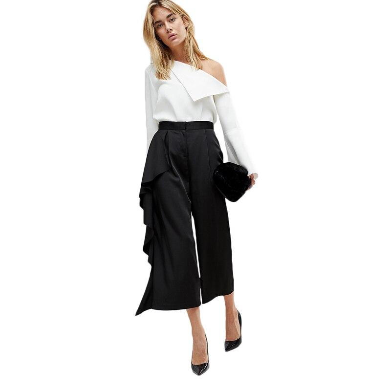 Black side ruffle high waisted calf length   wide     leg     pants   for women ladies OL formal asymmetric capri palazzo   pants   for work