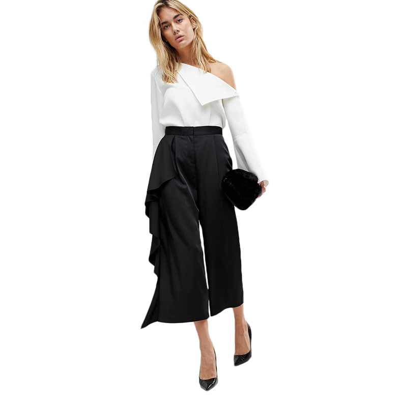 Black side ruffle high waisted calf length wide leg pants for women ladies OL formal asymmetric capri palazzo pants for work