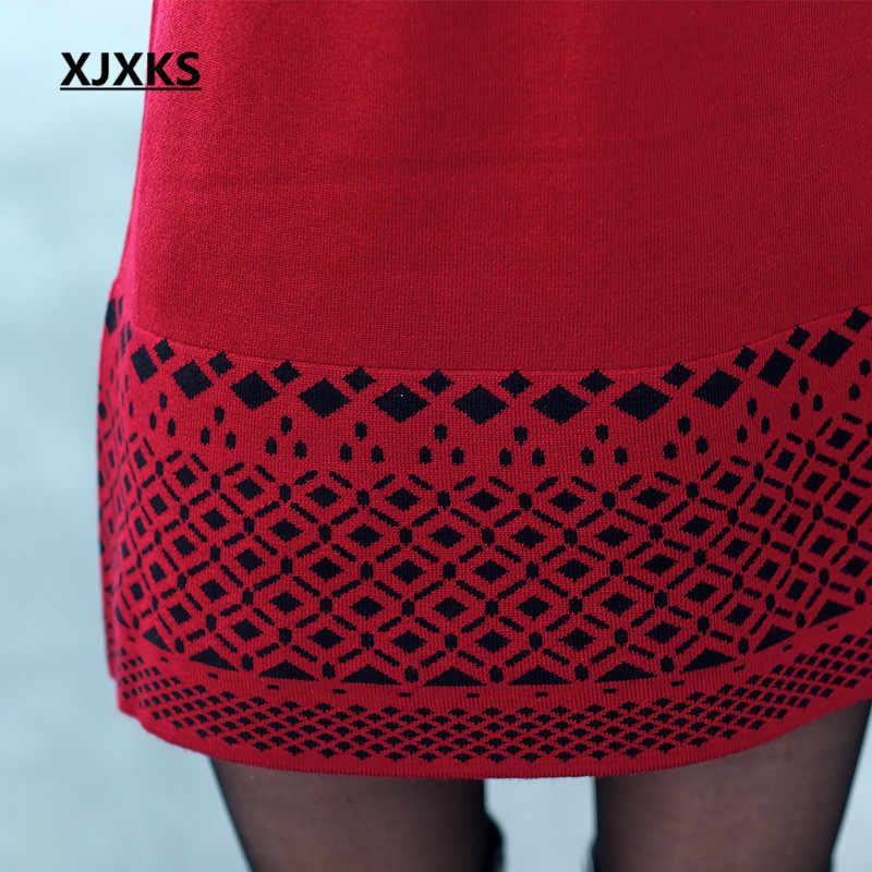 XJXKS Новый 2019 женский шерстяной свитер свободный толстый плюс размер зимнее платье Модный пуловер Хеджирование Повседневный женский свитер платье