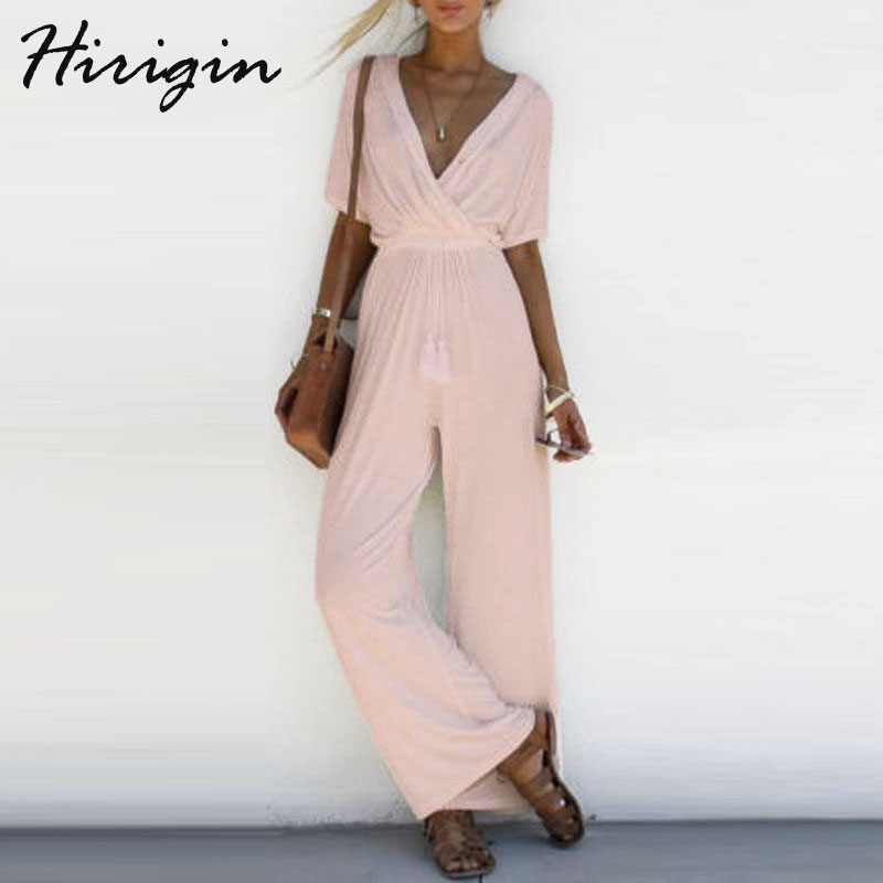 2018 Women Solid Jumpsuit Romper Short Sleeve V Neck Casual Playsuit Ladies Wide Leg Loose White Black Pink D12