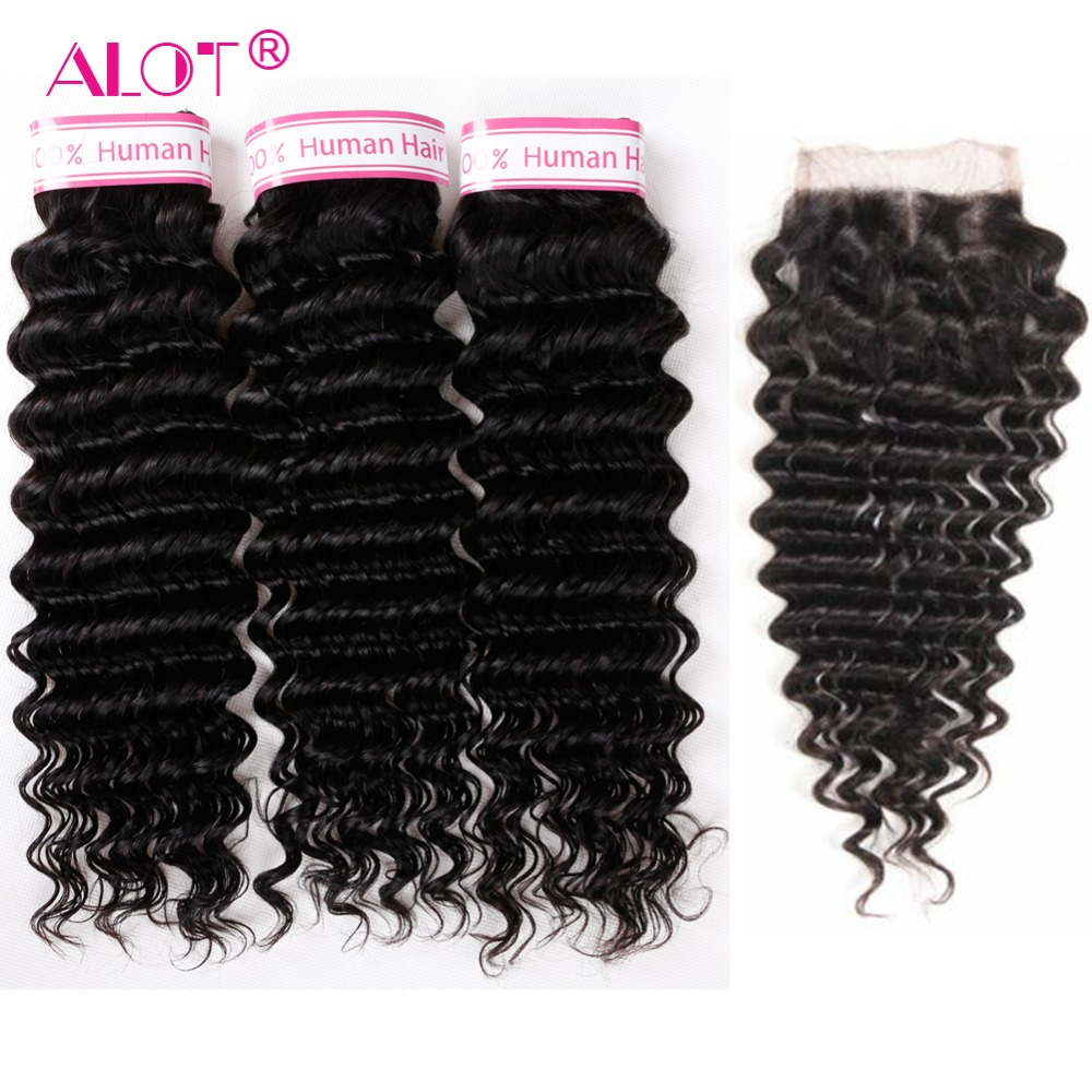 Alot Indian Deep Wave Bundles With Closure Human Hair Weave 3 Bundles With Closure Non Remy Human Hair Extensions With closure
