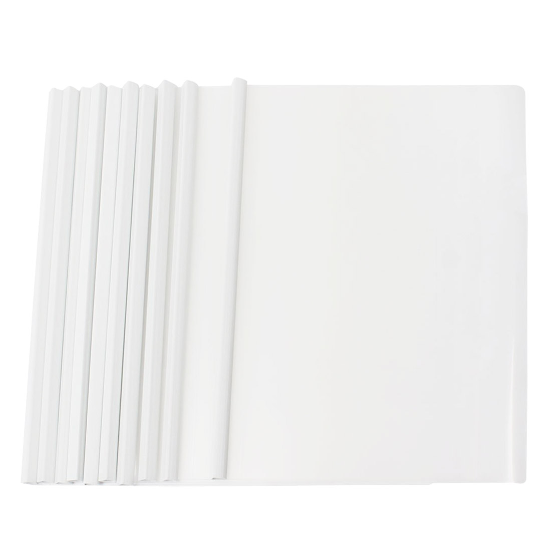 10 Pcs White Plastic Sliding Bar File Folder For A4 Paper Report
