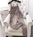 Estilo do inverno 2017 Das Mulheres De Lã Calças de Lã de Cintura Alta Listrado macacão moda macacões Harem Pants com Bolsos Calças Slim