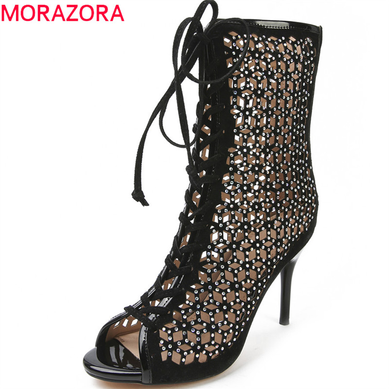 MORAZORA 2018 new women boots top quality flock summer shoes fashion crystal lace-up sexy peep toe mid calf high heel shoes 2018 superstar flock runway peep toe slip on fashion brand shoes wedges autumn spring lazy zipper mid calf boots for women l33