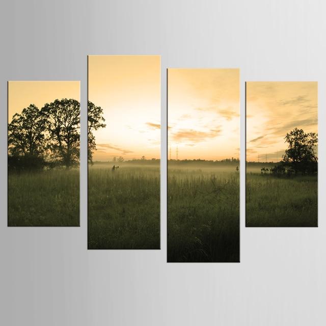 Hot Sale Unframed 4pcs / set of yellow sky landscape wall art wall ...