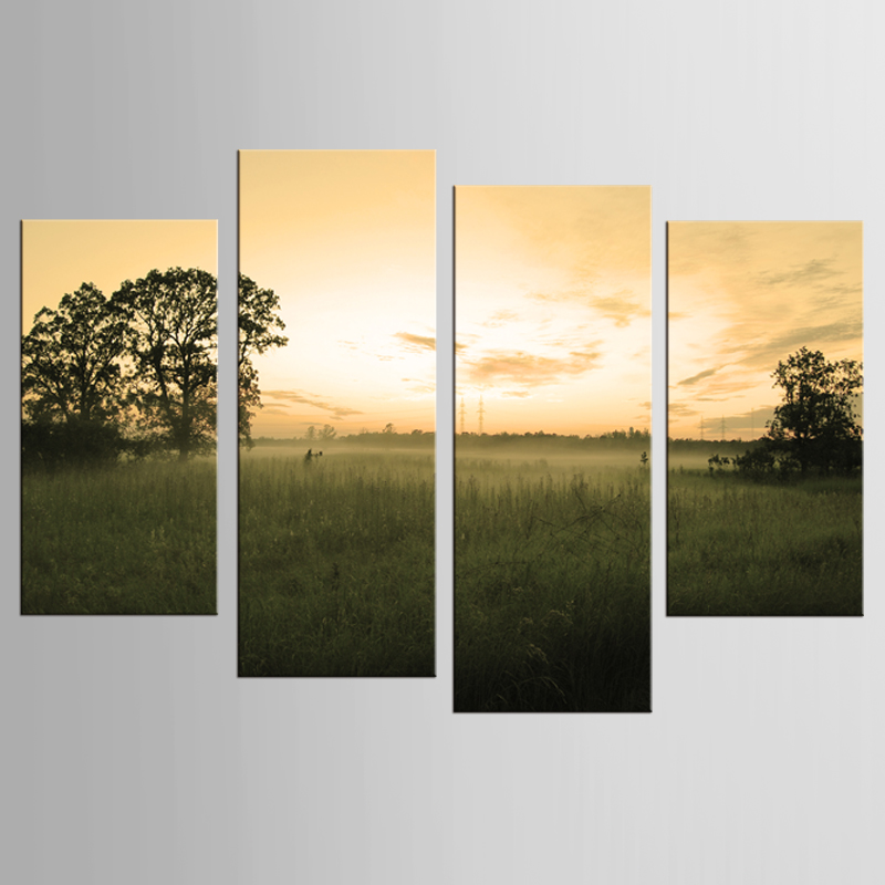 Hot Sale Unframed 4pcs / set of yellow sky landscape wall art wall decoration home decoration canvas on canvas print painting
