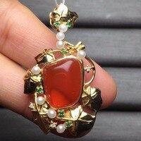 Fine Jewelry индивидуальные Размеры Настоящее 18 К желтого золота AU750 100% натуральный огненный опал камень женщины подвески для Для женщин тонкой ц