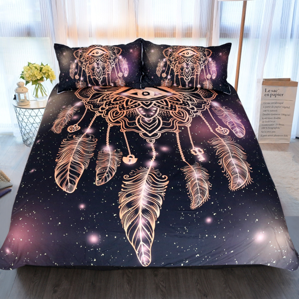 3pcs Bed Set Bed Linen for Children Twin Full Queen King Size Duvet Pillowcase Dreamcatcher Covers Pink Feather Bed Linens E