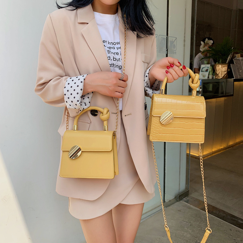 Fashion PU Leather Women Handbags Small Totes Designer Chains Shoulder Crossbody Bag Hand Bags High Quality Bag for Women 2019 in Top Handle Bags from Luggage Bags