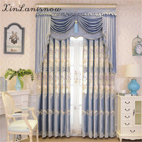 European Chenille Embroidery Hollow Out Blue Villas Curtains For Living Dining Room Bedroom