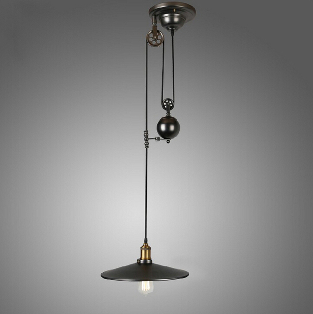 Vintage American Industrial Pendant Lights RH Loft Pulley Adjustable Wire  Retractable Bar Hanglamp Lamp Light Fixtures
