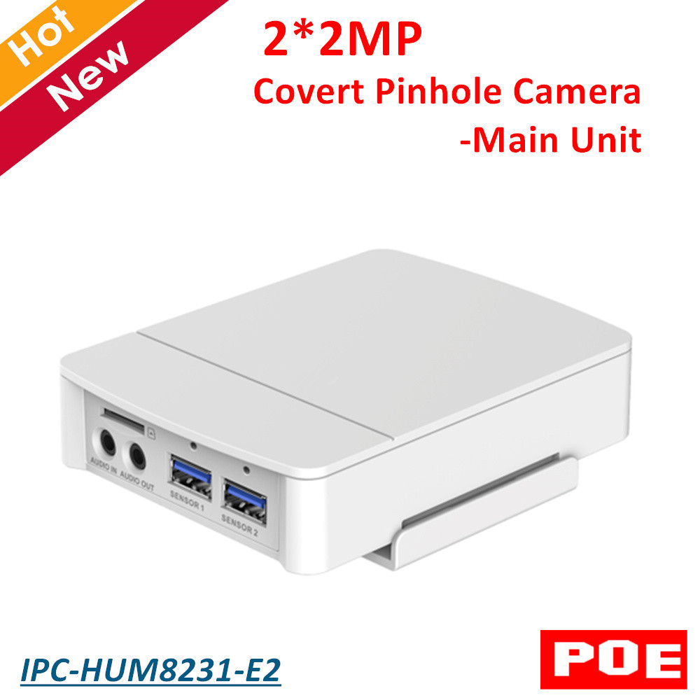 Original DH IPC-HUM8231-E2 2x2MP Covert Pinhole Camera-Main Unit H.265 Support POE and SD Card English version without logo 4mp poe dahua covert pinhole camera main unit ipc hum8431 e1 h 265 support smart detection and sd card metal case