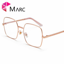 MARC 2018NEW Glasses Frame WOMEN Men Vintage Metal Lens Optical Suqare Plain Alloy Resin solid Clear 1024