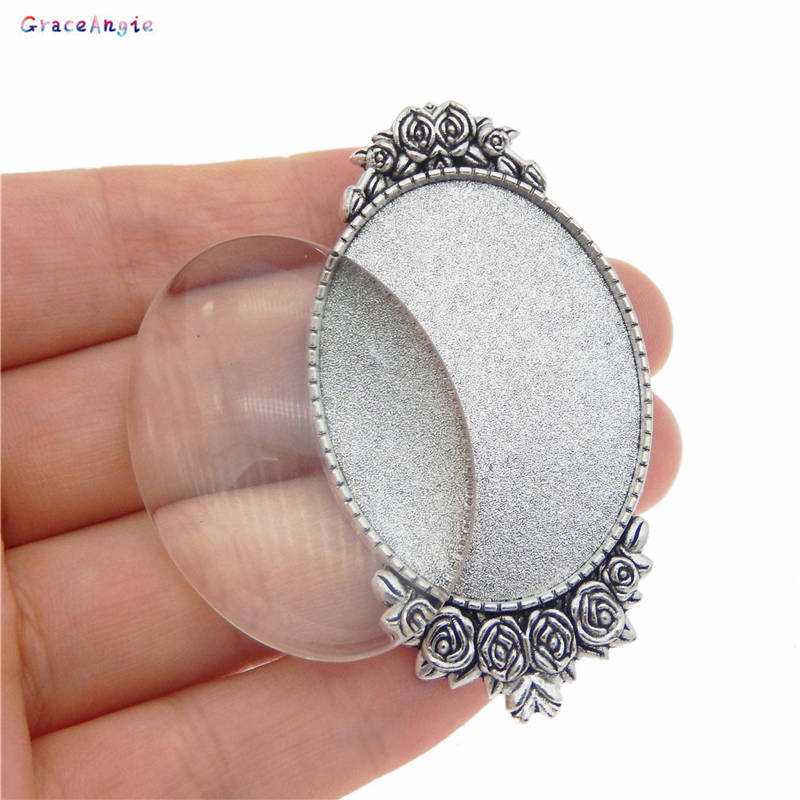 GraceAngie Retro Oval Antiqued Silver Brooch Bezel Set Flower Cabochon Brooch Pin Jewelry <font><b>DIY</b></font> Accessory Fit For 40*30mm Glass image