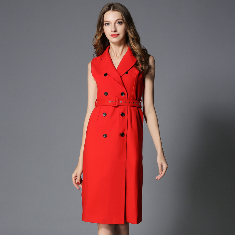 Fashion Winter Dress Europe Belt Buckle trench Dress Double breasted Casual Women Sleeveless Dress