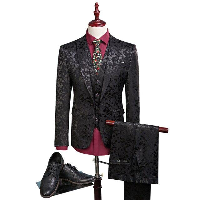 New men leisure single-breasted suits 3 pieces sets / Man's pure color business suit jacket blazers coat + vest +pants 1