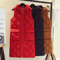 Women Winter Vest Down Cotton Jacket Sleeveless Coat Fashion Hooded Wave Solid Long Waistcoat Female Warm Clothing M 3XL