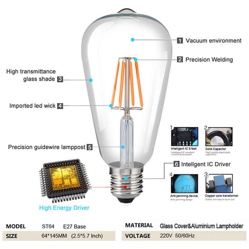 Cor de 1 pcs 4 pces lâmpada led edison 220v e27 filamento led lâmpada luz st64 retro verde/azul/vermelho/rosa/quente/branco ampola lampara