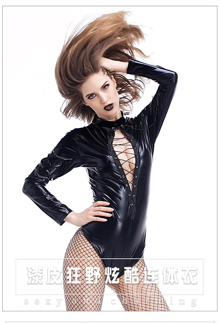 6ff41bdaf Black Sexy Lingerie Leather Female Pole dancing uniform Cosplay ...