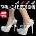 14 см каблуках-белый сверкающий горный хрусталь свадебные туфли, сексуальные красные платформы туфли на высоком каблуке, кристалл невесты обувь размер 33 до 41