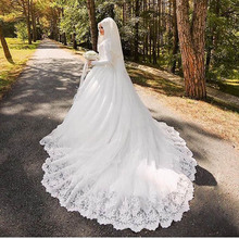Vestido De Noiva Robe De Mariage Arabic Muslim Luxury Beautiful 80cm Long Trail Long Sleeve Hijab Wedding Dress with Veil 2016