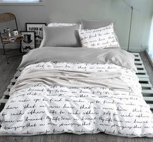 Duvet capa de edredon letras impressão conjuntos de cama king atividade conjuntos de cama ru eua tamanho, jogo de lençol da cama com colcha, roupa de cama cinza