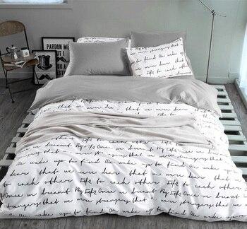 Nadruk w litery kołdra zestaw osłon King aktywność komplety pościeli RU rozmiar amerykański, kapa na kołdrę zestaw arkuszy pościel do sypialni pościel szary