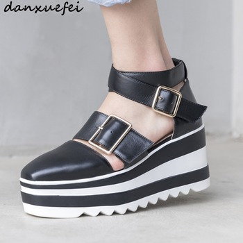 Women's genuine leather ankle buckle wedge platfrom sandals square toe thick sole punk summer sandalias metal buckle heels shoes