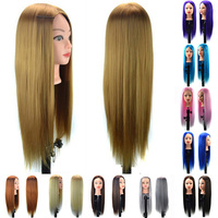 Professional 60cm Hairdressing Practice Training Head Artificial Hair Mannequin Makeup Doll Head Salon Hait Styling Training