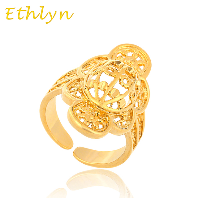 Ethlyn Latest New Arrival Ethiopian Wedding Resizable Bridal Ring Gold Color Free Size Women