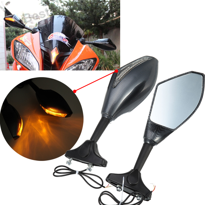 MOTORCYCLE CARBON FIBER LOOK INTEGRATED LED TURN SIGNAL REAR VIEW SIDE MIRRORS FOR 1999 2000 2001 YAMAHA YZF-R1 YZF R1 R6 R6S golden 6mm motorcycle carbon fiber swingarm spools slider fits for yamaha yzf r1 r6 r6s yzfr1 yzfr6 yzfr6s yzf r6s
