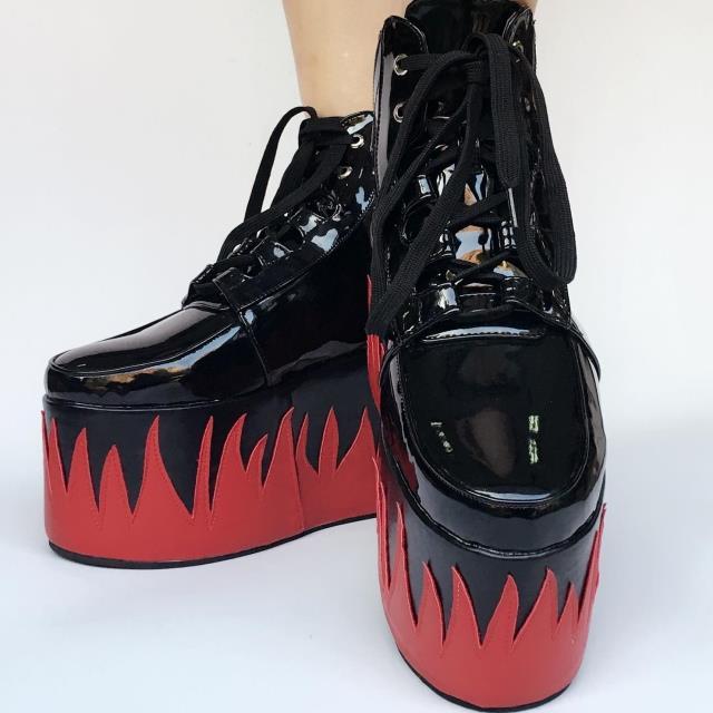 Haute Personnalisée Main Noir Chaussures fait Japonais 10 forme Harajuku Flamme Cm Cosplay Brillant Rouge Lolita Plate pqOzfCw