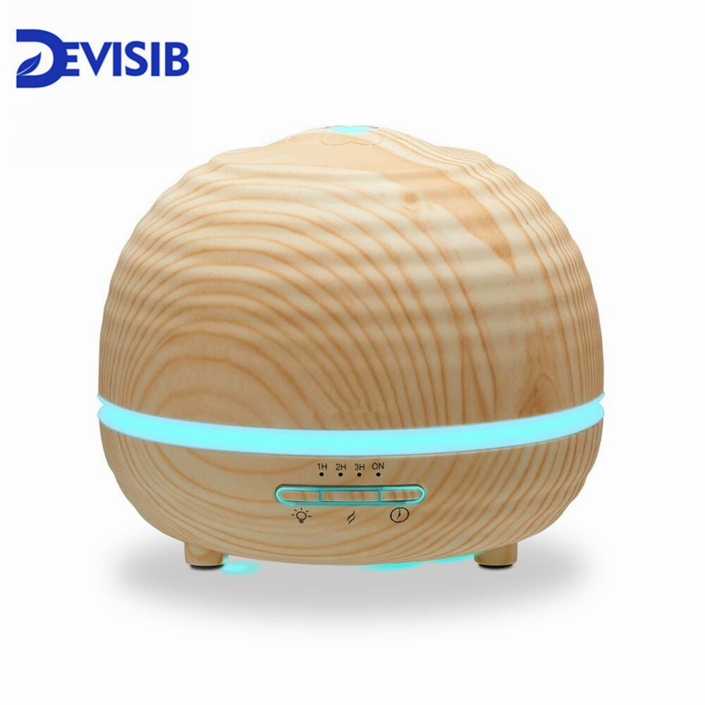 DEVISIB Essential Oil Diffuser 300ml Aroma Wood Grain Cool Mist Humidifier with 7 LED Color lights 4 Timer Settings Mist vintage wood grain color block flannel rug page 4