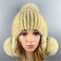 2016 Hat Зима Шапочки Hat для Женщин Высокого Качества Новинка Норки Мяч Solid Cap Норки Женщин Меха