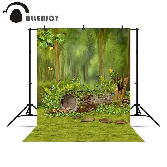 Allenjoy Фото фон Лес Дерево Бабочка Зеленый Сказка Новый профессиональный для фотографии винил фото фон